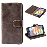 Mulbess Ledertasche im Ständer Book Case / Kartenfach für Samsung Galaxy S5 / S5 Neo Tasche Hülle Leder Etui,Vintage Braun