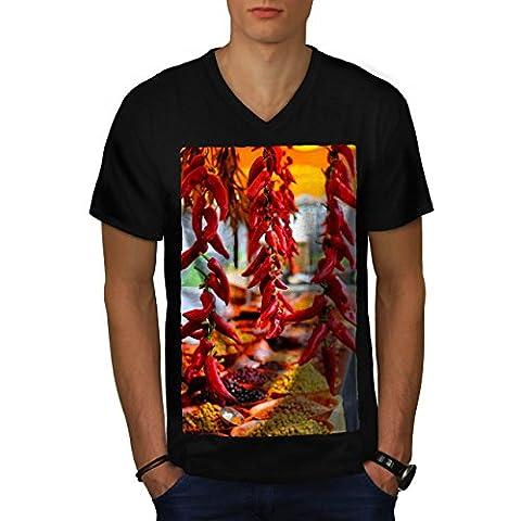 Red Hot Spicy Pepper Men M V-Neck T-shirt | Wellcoda