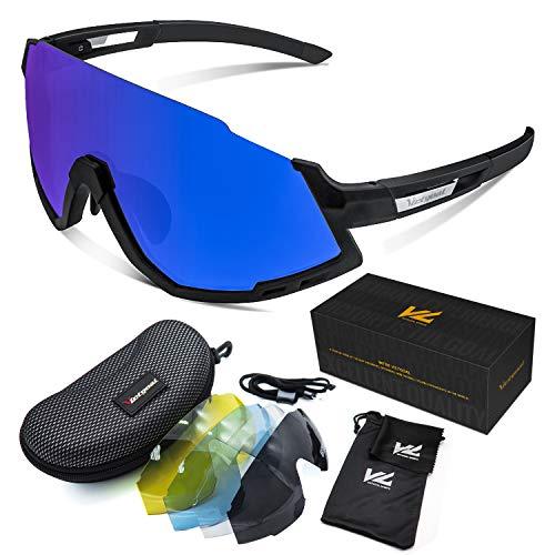 VICTGOAL Fahrradbrille Herren und Damen Sonnenbrille UV400 Sonnenschutz mit 5 Wechselgläsern polarisierte Linse Sportbrille für Laufen Angeln Klettern Radsport Brillen (Schwarz)