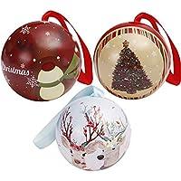 Diadia - Juego de 3 Cajas de Bolas Redondas con Plato de hojalata, diseño de árbol de Papá Noel, decoración para Ventana de Muestra, reunión Familiar, Oficina, Caja de Dulces
