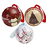 serliy Weißblech Runde Ball Kasten-Galaxie Ren Santa Tree Hanging Decorations Party (A)