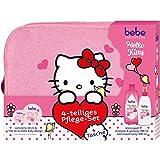 Bebe Hello Kitty 4-teiliges Pflege-Set und Tasche Wintergeschenkset (1x Zartcreme 50 ml und 150 ml, 1x Kämmspaß Shampoo und Spülung 300 ml, 1x Kämmspaß Spray 200 ml)