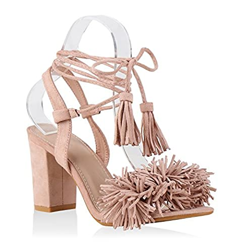Damen Sandaletten Quasten Sandalen Sommer Wildleder-Optik Schaftsandaletten Schnürungen Fransen Nieten Lack Schuhe 133835 Rosa 38 |
