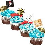 Lot de 200 décorations pour cupcakes Juvale Pirate - Décoration de cupcakes sur le thème des pirates - Piques à gâteau de 3 x 7,6 cm pirate