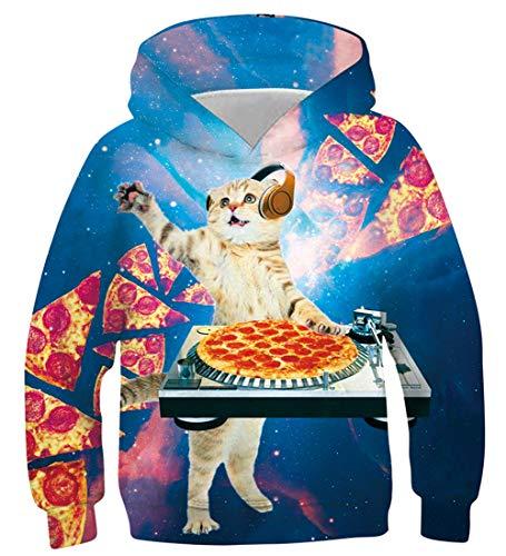 stischer 3D-Druck DJ Pizza Cat Pullover Hoodie Lustiges Muster Mit Kapuze Sweatshirts/Taschen für Teenager Jumper 12-13 Jahre ()