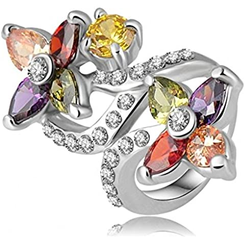 Alimab Gioielli signore anelli di fidanzamento anelli di nozze Donne anelli fedi donna oro anelli oro fiori