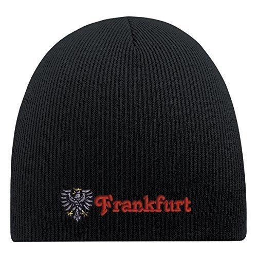 Beanie-Mütze mit Einstickung - Frankfurt - 54833 Schwarz