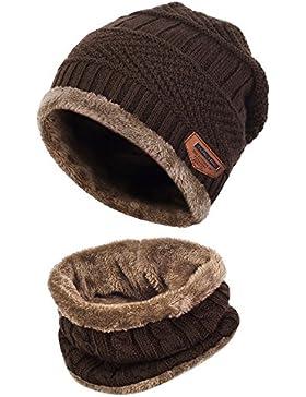 Aibrou Cappello Uomo Invernali in Maglia con Sciarpa, Cappello Sciarpa Uomo, 2 pezzi Sciarpe da Sci all'aperto...