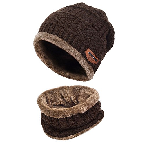 Aibrou Herren Wintermütze Warm Beanie Strickmütze und Schlauchschal mit Fleecefutter Kaffee