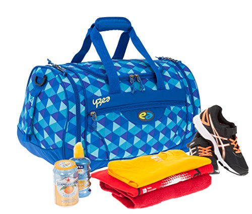 2 Teile SET: YZEA Sporttasche SPORTS by Take it Easy 29016 + Trinkflasche CO2 (WAVE 630 (blau orange)) PIN 620 (blau karo)