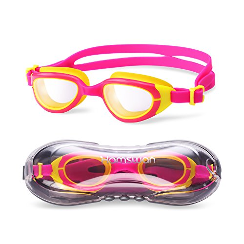 HAMSWAN CF-6500 Kinder Schwimmbrille klare Sicht Kein auslaufender Anti-Beschlag UV-Schutz für Kinder Jungen und Mädchen mit freiem Schutzhülle (rot und gelb)