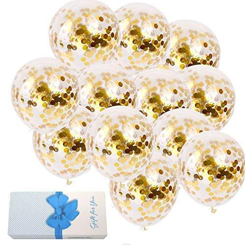 Gold Confetti Ballons 20 Stück, 12 Zoll Gold Konfetti Party Ballon Party Hochzeit Dekoration und Vorschlag