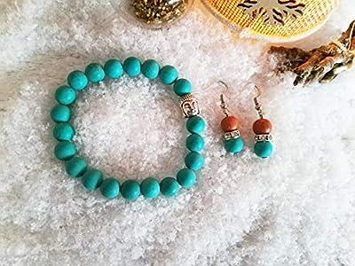 Parure bracelet turquoise, bracelet pierres naturelles, boucles turquoise, set cadeau, cadeau Noël, ensemble bijoux, bracelet boudha