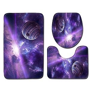 Three-piece toilet seat LEEDY,3pcs Non-Slip Bath Mat Bathroom Kitchen Carpet Doormats Decor(C)