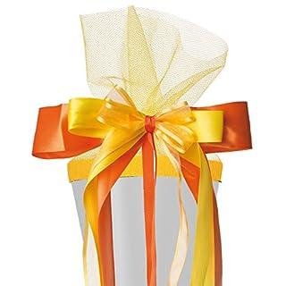 alles-meine.de GmbH große 3-D Schleife für Schultüten -  orange & gelb  - 24 cm breit u. 55 cm lang - mit edlen Satin Bändern, Tüll & Bastband - für Geschenke und Zuckertüten -..