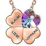 ENGSWA Damen Halskette mit Gravur Vierblättriges Kleeblatt Kette Anhänger Herz Kristallen von Swarovski Eingelegt von LEKANI Geschenk für Freundin Frau