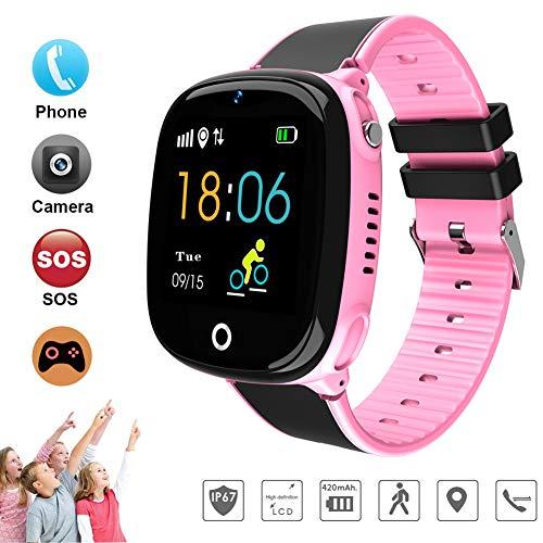 Begabtes Kind 2019 GPS-Telefon Uhr OHNE Abhörfunktion für Kinder Intelligent IP67 Wasserdicht SOS Notruf+Telefonfunktion, Live GPS+LBS Positionierung,Puzzle-Spiel, App + Support auf deutsch (pink)