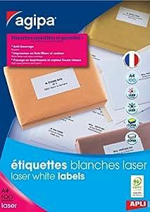 Agipa Boite de 4000 étiquettes laser adresse 52,5x29,7