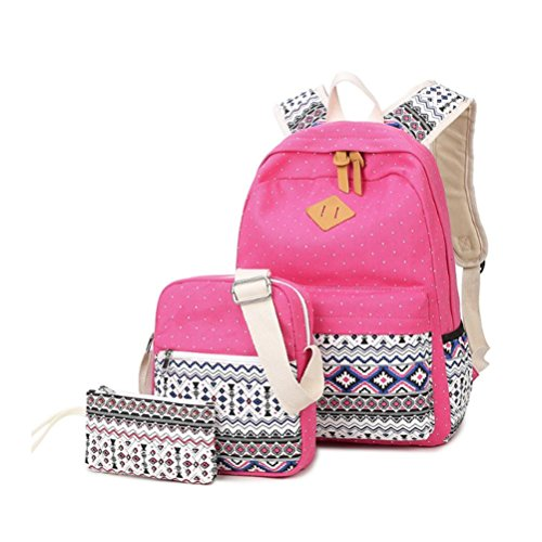 QPYC Borsa da viaggio dello zaino della scuola della scuola di modo degli allievi del sacchetto del sacchetto del sacchetto del sacchetto del computer portatile imbottito in nylon per le donne ragazze Rose red