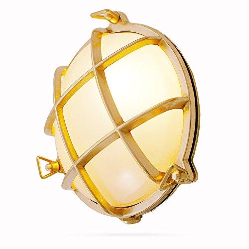 Foresti & Suardi - Lampe maritime ronde | Lampe de bateau | En laiton poli | ø 190 mm | IP 54 | E27 culot (verre satiné)