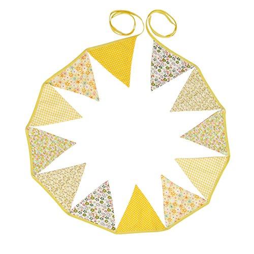 12 Wimpelkette Stoffgirlande zur Deko für Kinderzimmer (Gelb)