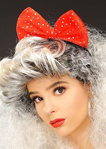 1980s Red Sequin Fancy Dress Hair Bow on Headband Sequin Bow Headband
