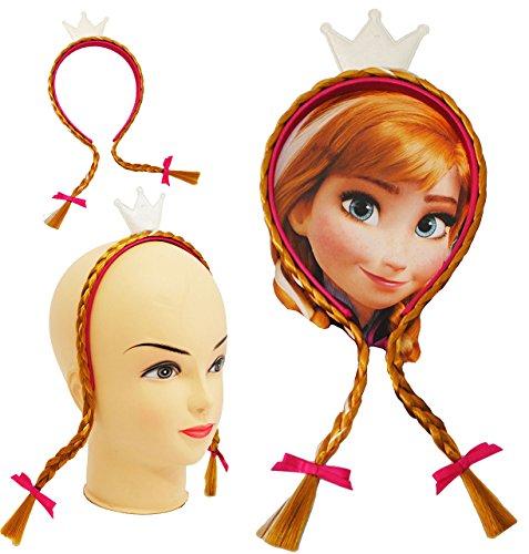 """1 Stück _ Haarreif / Haarband - """" Disney die Eiskönigin - Frozen / Prinzessin Anna """" - mit Haaren & Schleifen - geflochtenen Haarsträhnen / Haarsträhnchen / Strähnen - Schmuck Haarschmuck - für Kinder Mädchen - Prinzessin Olaf - völlig unverfroren - Elsa Arendelle - Haarspange Haarzopf / Kinderschmuck - Haare Zopf / Krone - Haargummi - Kindergeburtstag - pink / Reif - Haarreifen - Zöpfe"""