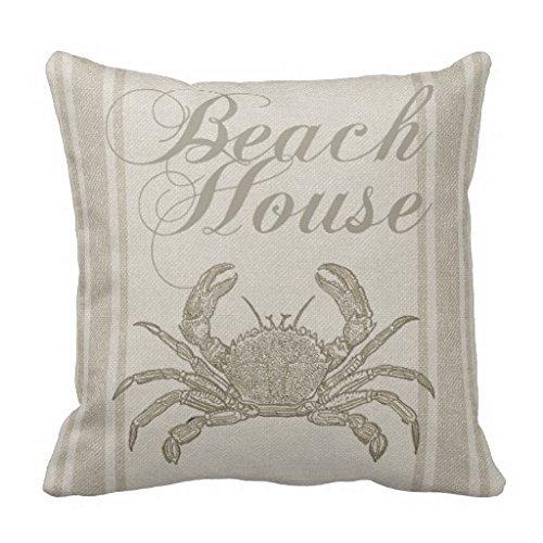 Beach House Crab Sandy Coastal Decor Soft Decorative Pillow Case Cover