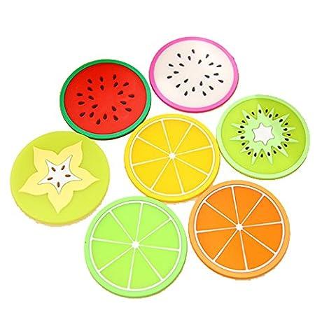 Lot de 7/1Set coloré intempéries arc-en-ciel Fruit Slice Café Boisson Jus Cups Dessous Plateau Set de table en silicone pour bar restaurant Boisson