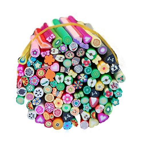 Acryl-stick Cane (Warm Mädchen 100PCS/Set 3D Nail Art Fimo Canes Stick Rods Polymer Clay Aufkleber Nagel Dekoration für Acryl UV-Gel Maniküre Set)