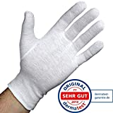Dermatest: Sehr Gut - Lavamed Baumwollhandschuhe - extra weiche Baumwoll-Handschuhe aus 100% Baumwolle - Trikothandschuhe - weiße Zwirnhandschuhe - Premium Kosmetikhandschuhe (3 Paar, S)