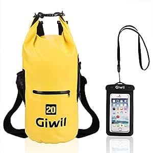 Giwil 10L 20L 30L Dry Bag Borse Impermeabile, 100% impermeabile Roll Top Dry Bag Galleggiante può Essere Usato per la Navigazione, Trekking, Kayak, Canoa, Pesca, Rafting, Nuoto, Campeggio, Sci e Snowboard con Una Custodia Telefono Impermeabile Universale