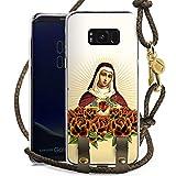DeinDesign Samsung Galaxy S8 Plus Carry Case Hülle zum Umhängen Handyhülle mit Kette Maria Kreuz Rosen