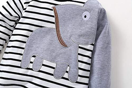 0b549172f5 Elecenty Abbigliamento per Bambino 0-24 T-shirt con stampa a strisce  elefantini per neonato vestiti