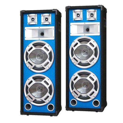 Skytronic Coppia Casse passive diffusori altoparlanti PA (1200 Watt, sistema a 3 vie, Bass Reflex, effetto LED blu sensibile alla musica)
