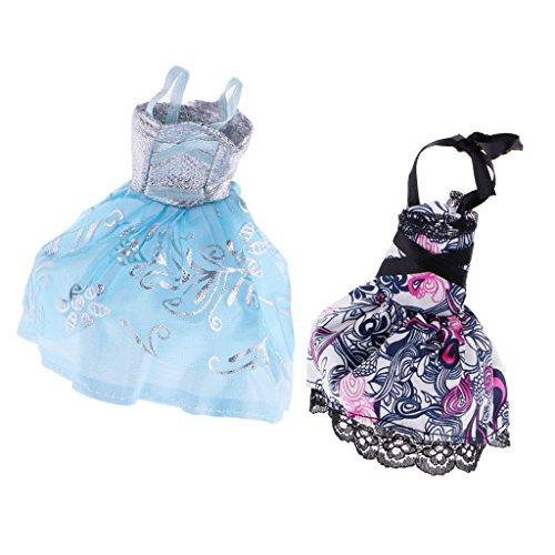 Fenteer 2pcs Puppen Kleider Prinzessin Abendkleid Party Kleidung -