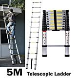 5M/16.4ft Aluminum Extension Foldable Telescopic Ladder Straight Telescoping Ladders Capacity 150kg/330lb with Certificate