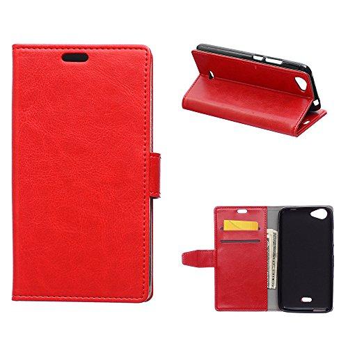 MOONCASE Wiko Rainbow Jam 3G Hülle, Ledertasche Brieftasche mit Standfunktion und Karte Halter Tasche Magnetisch Leder Schutzhülle für Wiko Rainbow Jam 3G Rot 3g Strass