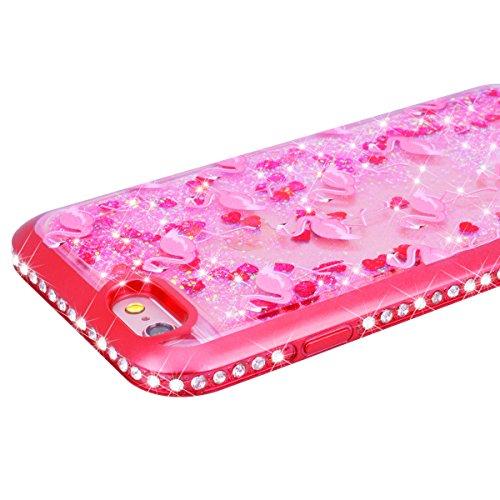 Yokata iPhone 7 Plus Hülle Transparent Glitzer Flüssig Liquid Handyhülle Weiche Silikon TPU Bumper Plating 3D Diamant Rahmen Stoßfest Kratzfeste Hardcase Klar Hart Backcover Luxus Sterne Herz Sparkle  Flamingo Rot