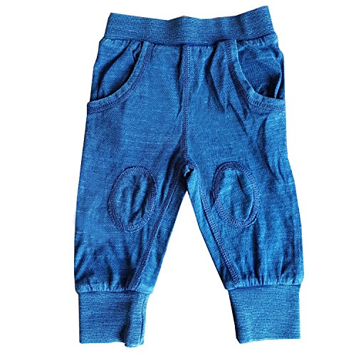 Mini Munchkin Baby Girls Blue Leggings With Knee Patches Made From 100% Cotton In Sizes 0 to 24 Months