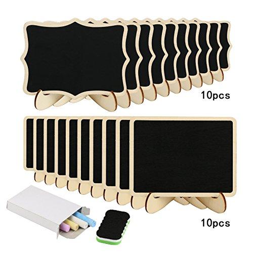 20 Mini Holz Tafel Set, KAKOO Kreidetafel Memotafel mit Stand-Füße als Tischkarte Platzkarte Namen Preis Schild für Landhaus Buffet Party Deko Vintage Hochzeit Tischdeko