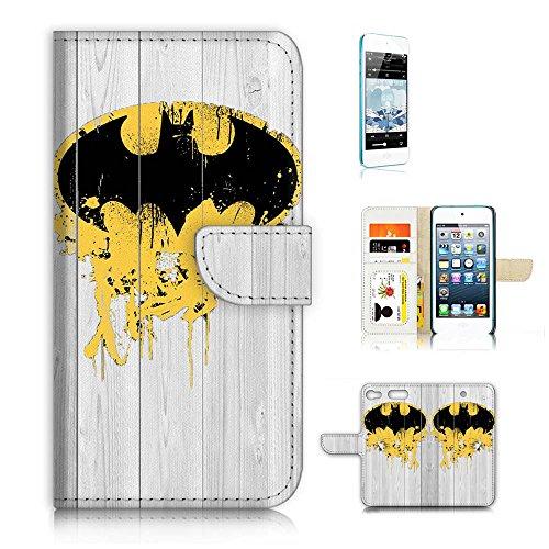 (für iPod Touch 6/iTouch 6) Wallet Case Cover & Displayschutzfolie Bundle. A3193Batman