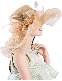 d29c3963e46e Kairuun Donne Estate Fiore Organza Cappello del Sole della Tesa della  Chiesa Cappelli da Sposa Cappello