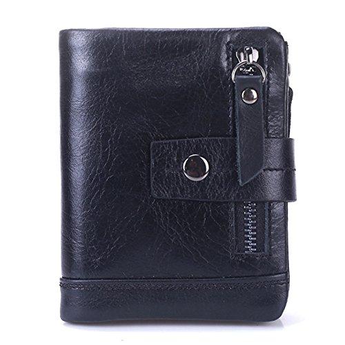 Tri-Fold Wallet Herren Short Wallet Multifunktions-Münztüte 9076 Schwarz -