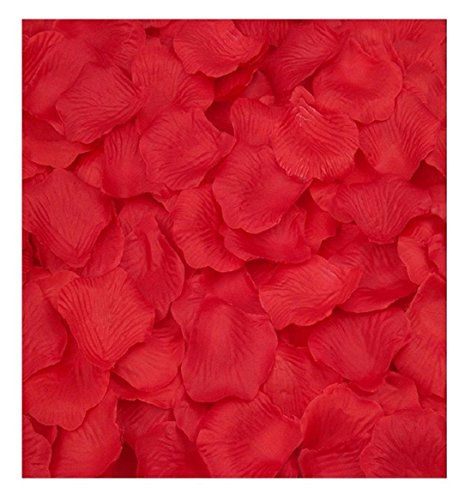 Ularma 2000pcs Bourgogne soie Rose pétales artificiels Flower Party Favors Decor de mariage (rouge)