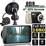 J-Rrafy Dash Cam per Auto, Registratore di Guida per Auto Videocamera Dash Cam per Veicolo Dual Lens Camera HD 1080P Car DVR Videocamera con HD Night Vision & Motion Detection