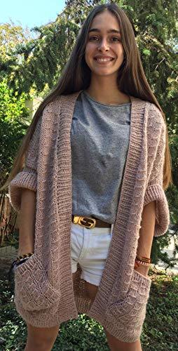 Weste oder Strickjacke in fauler rosa Farbe, hergestellt aus Alpakawolle und Acryl, 100% von Hand, Einheitsgröße, für Frauen oder Mädchen (Fauler Bekleidung)