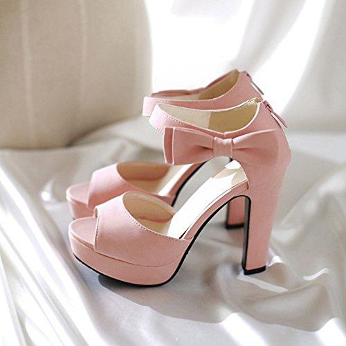 COOLCEPT Damen Mode Knochelriemchen Sandalen Peep Toe Blockabsatz Schuhe Mit Zipper Rosa