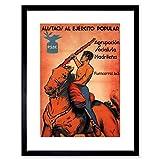 Wee Blue Coo War Spanish Civil Enlist Socialism Anti Fascist Spain Psoe Lámina Enmarcada 12 x 16 Pulgadas