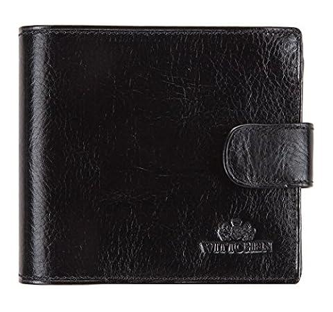 WITTCHEN Portemonnaie Geldbörse, 2x12x10cm, Schwarz, Naturleder, Leder, Handmade, 21-1-125-1 (12 Magische Münze)